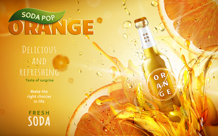 orange soda pop ad with a tilt glossy bottle shining on the right side, 3d illustration