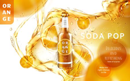 画像、3 d の図の真ん中に輝く光沢のあるボトルとオレンジ ソーダ ポップ広告