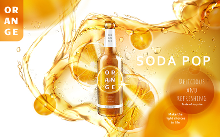 orange soda pop ad with a glossy bottle shining in the middle of the picture, 3d illustration