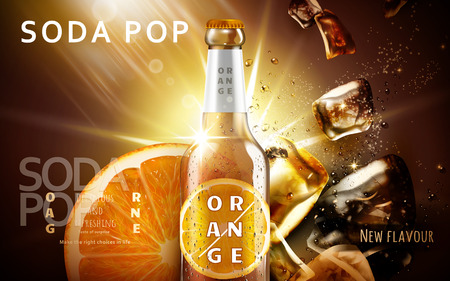 orange soda pop ad with a glossy bottle shining and ice cubes, brown background 3d illustration Stock Vector - 77510103