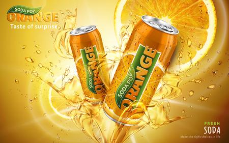 oranje frisdrank pop advertentie met twee kantelen metalen blikjes in het midden van de afbeelding, 3d illustratie