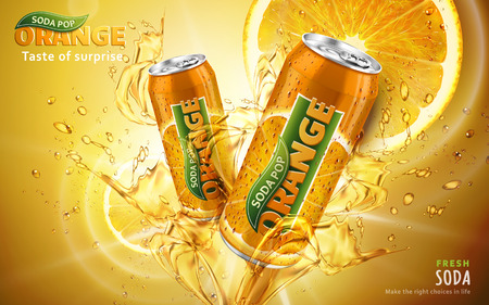 orange soda pop ad with two tilt metal cans in the middle of the picture, 3d illustration Illustration