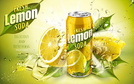 フレッシュ レモン ソーダ広告、クールな水の流れとレモン リーフ要素、3 d イラストレーション