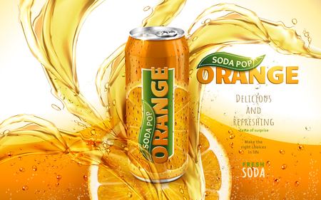 orange soda pop ad with a metal can in the middle of the picture, 3d illustration