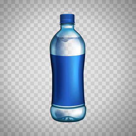 blank bottle with blue label for design uses, isolated transparent background Illustration