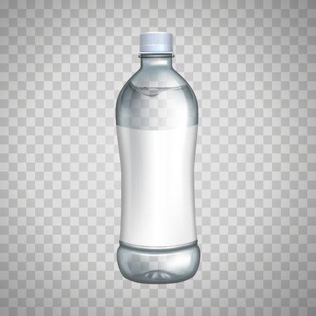 blank bottle with white label for design uses, isolated transparent background