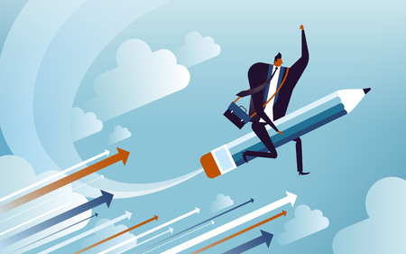 business concept illustration, suited man riding on a speedy pencil, implying that he may be an author Imagens - 77597670