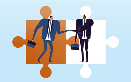 Ilustración de concepto de negocio, hombres adecuados estrechándole la mano y deciden convertirse en socios