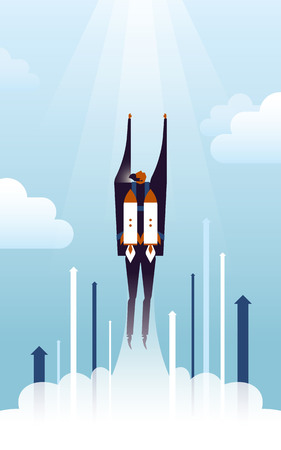 business concept illustration, suited man pushed up by rocket backpack