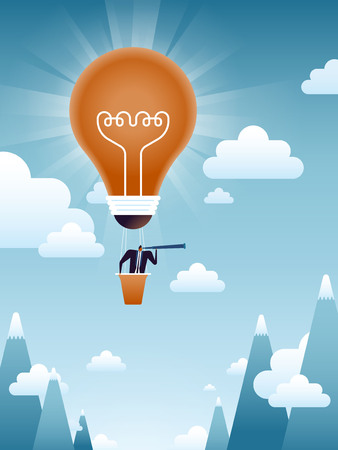 business concept illustration, suited man exploring new markets in a light bulb balloon
