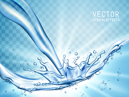 pouring water and splash as special effect, transparent background 3d illustration
