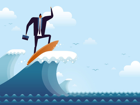 business concept illustration, suited man riding on a surfboard, representing his career peak