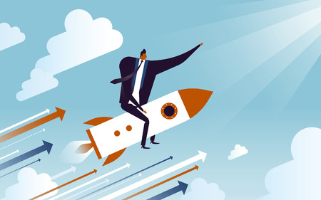 business concept illustration, suited man riding on a speedy rocket