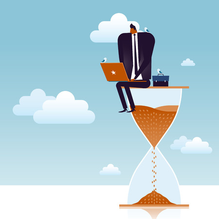 business concept illustration, suited man working on a giant hourglass with birds by his side