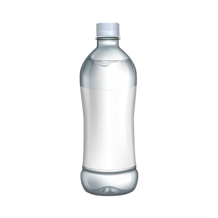 blank bottle with white label for design uses, isolated white background