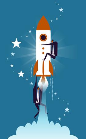 ビジネス概念図、ロケット、粘着性を保持している適しています男とロケットを把握別の男  イラスト・ベクター素材