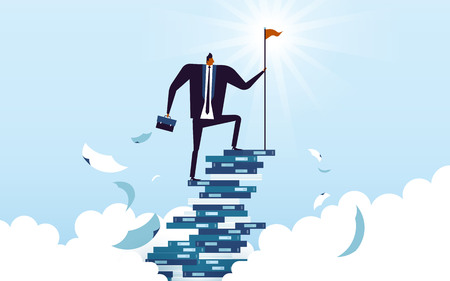 business concept illustration, suited man climbing his career ladder made by books