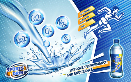 colorful sport drink ad, with a sprinting man logo and water flow, 3d illustration