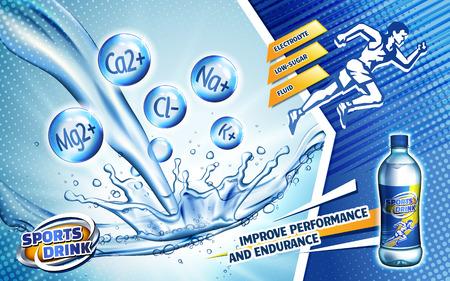 kleurrijke sportdrankadvertentie, met een sprintermensembleem en waterstroom, 3d illustratie