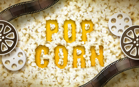 Popcorn word displayed by popcorn, with filmstrip and reel elements, 3d illustration Ilustração
