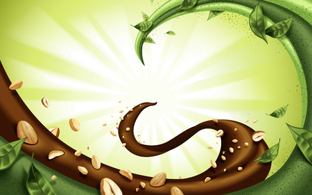 Flowing fillings background, chocolate matcha and nuts isolated on green background Ilustração