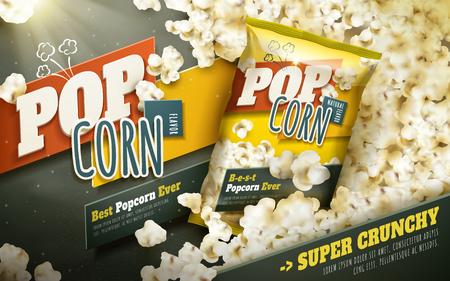 맛있는 팝콘 광고, 포일 패키지와 흩어져있는 팝콘, 3d 일러스트 레이션 일러스트