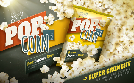 Delicious popcorn ads, scattered popcorn with foil package, 3d illustration