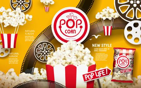 맛있는 팝콘 광고, 필름 스트립 및 크롬 노란색 배경, 3d 그림에서 격리하는 릴 요소와 흰색과 빨간색 줄무늬 패키지