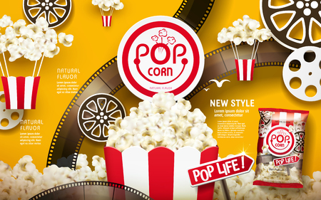 Delicious popcorn ads, white and red stripes package with filmstrip and reel elements isolated on chrome yellow background, 3d illustration