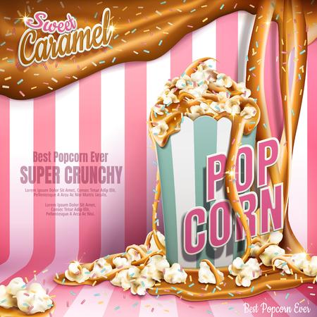 甘いポップコーン広告、キャラメルを流れる、虹ジミー コーティングに分離ピンク ストライプの背景、3 d イラストレーション