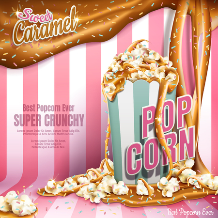 Sweet popcorn ads, caramel flowing down and rainbow jimmy coated isolated on pink stripes background, 3d illustration