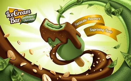 緑茶アイス クリーム バー チョコレートとナッツにコーティングした、流れる充填を持つ葉とナッツの要素  イラスト・ベクター素材