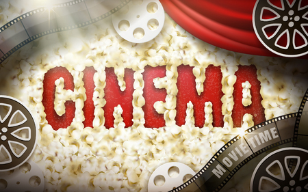 Cinema word displayed by popcorn, with red curtain, filmstrip and reel elements, 3d illustration Imagens - 78351544