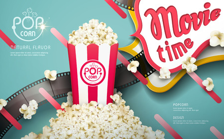 Delicious popcorn ads, white and red stripes package with filmstrip elements isolated on turquoise background, 3d illustration Illustration