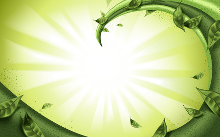 抹茶や緑茶の詰め物の流れに孤立した緑色の背景、緑の葉の要素