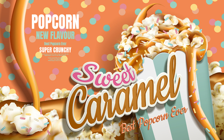 Caramel popcorn ads, caramel flowing down with rainbow jimmy coated isolated on colorful dotted background, 3d illustration