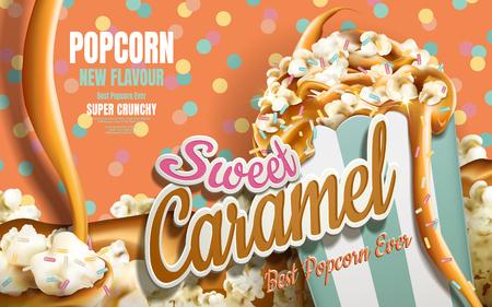 De popcornadvertenties van de karamel, karamel die neer met gecoate regenboogjimmy stromen geïsoleerd op kleurrijke gestippelde achtergrond, 3d illustratie Stockfoto - 78351666