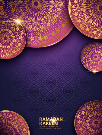 Ramadan Kareem illustration, purple background and splendid traditional patterns
