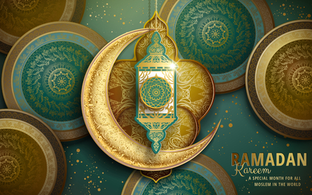 Ramadan Kareem illustration with crescent decoration and green and golden patterns
