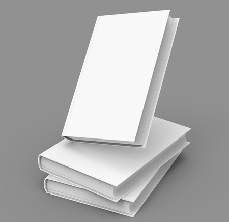 3d rendering blank hard cover books for design uses, isolated gray background