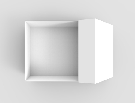 white flat 3d rendering blank open box, isolated gray background Stock Photo