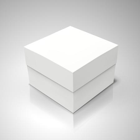 white flat tilt blank box, isolated light gray background 3d illustration