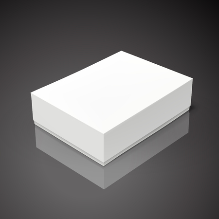 white flat tilt blank box, isolated black background 3d illustration Illustration