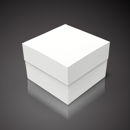 White flat tilt blank box, isolated black background 3d illustration