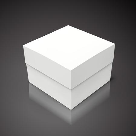 White flat tilt blank box, isolated black background 3d illustration