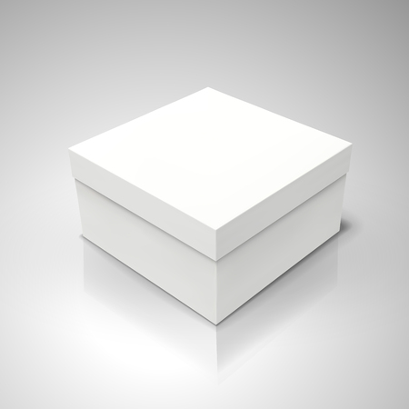 white flat tilt blank box, isolated light gray background 3d illustration