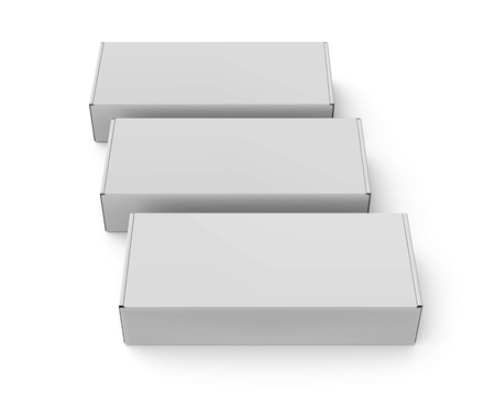 three blank 3d rendering roll end tuck top boxes, isolated white background