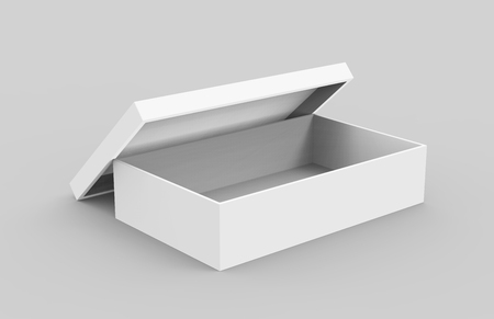 white 3d rendering blank open box, isolated light gray background