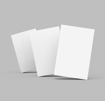 three 3d rendering blank boxes, isolated gray background Reklamní fotografie