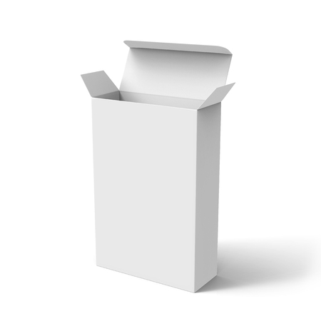 blank 3d rendering roll end tuck top box, isolated white background